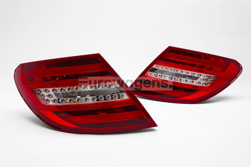 Rear lights set red clear LED Mercedes C Class W204 07-10