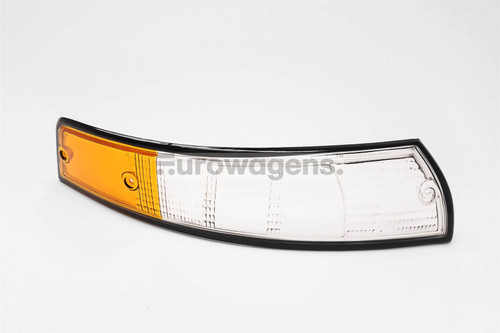 Front indicator lens right clear orange black rim Porsche 911 67-74