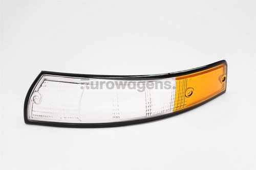 Front indicator lens left clear orange black rim Porsche 911 67-74