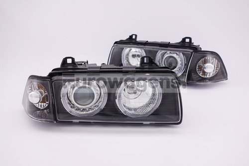 Angel eyes headlights set black BMW 3 Series E36 91-00 2 door