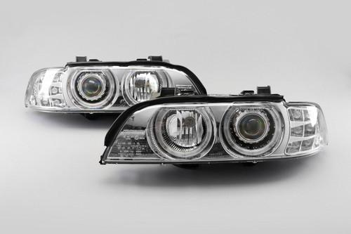 Angel eyes headlights set chrome BMW 5 Series E39 95-00