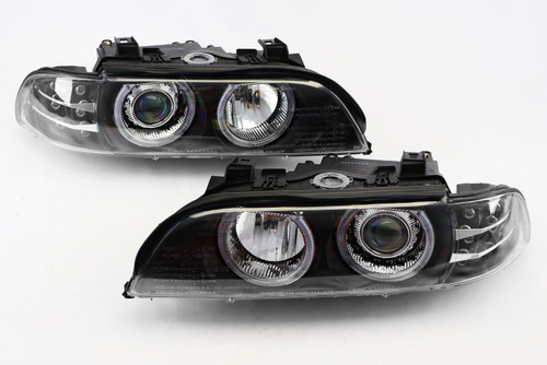 Angel eyes headlights set black BMW 5 Series E39 95-00