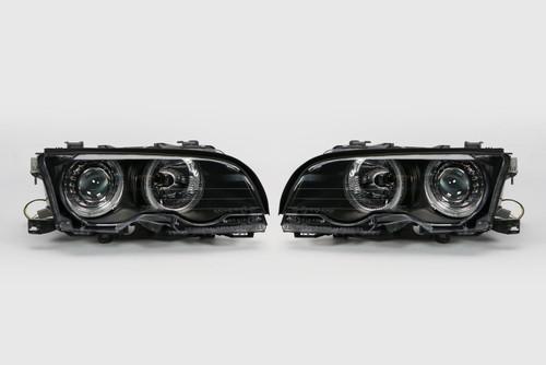 Angel eyes headlights set black BMW 3 Series E46 01-03 2 door only