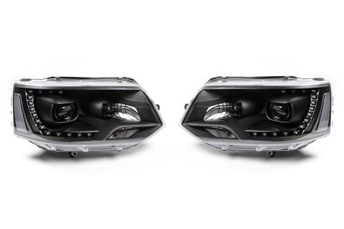 Headlights set black LED DRL xenon look VW Transporter T5 Caravelle