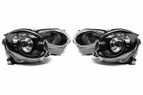 Headlights set black projector Fiat 500 07-14
