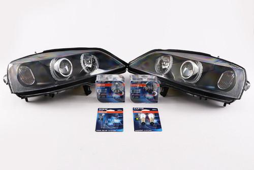Angel eyes headlights set black Vauxhall Astra G MK4 98-04 with Osram bulbs