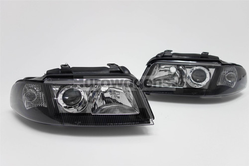 Headlights set black Audi A4 99-01