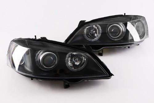 Angel eyes headlights set black Vauxhall Astra G 98-04
