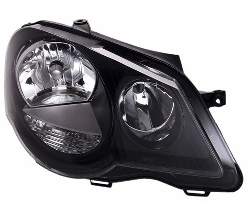 Headlight right black VW Polo 9N3 05-09