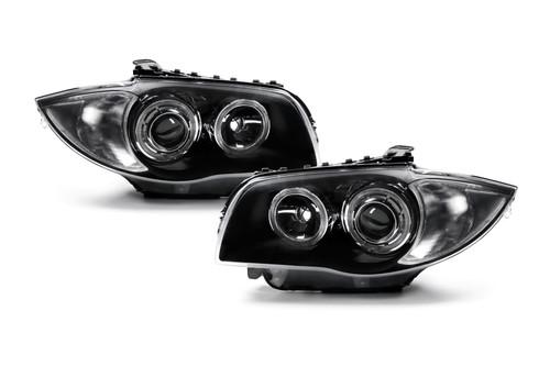 Angel eyes headlights set black BMW 1 Series E81 E82 E87 E88 03-10
