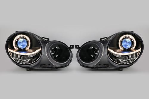 Angel eyes headlights set black VW Polo 9N 02-05