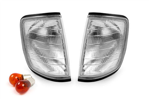 Front indicator set clear With Bulbs And Bulb Holder Mercedes E Class W124 85-95