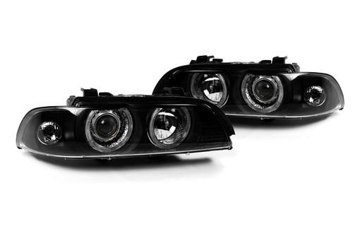 Angel eye headlight set black BMW 5 Series E39 95-00
