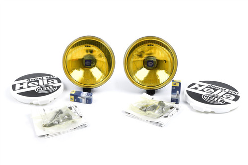 Hella Comet 500 yellow spotlight set with bulbs and mounting kit