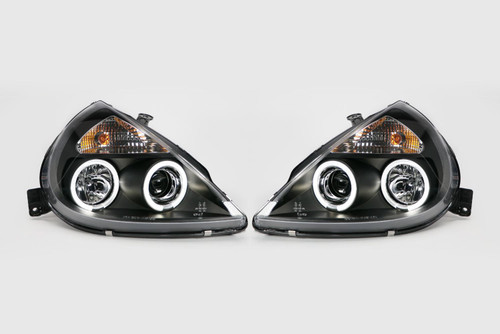 Angel eyes headlights set black Ford KA 97-08