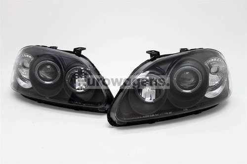 Angel eyes headlights set black Honda Civic 96-99