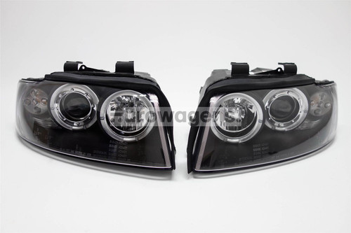Angel eyes headlights set black LED Audi A4 B6 01-04
