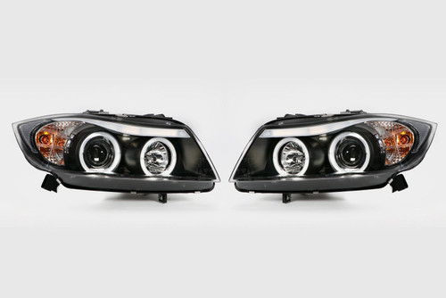 Angel eye headlight set black BMW 3 Series E90 E91 05-08