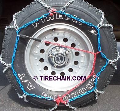 Snow chains diamond installed