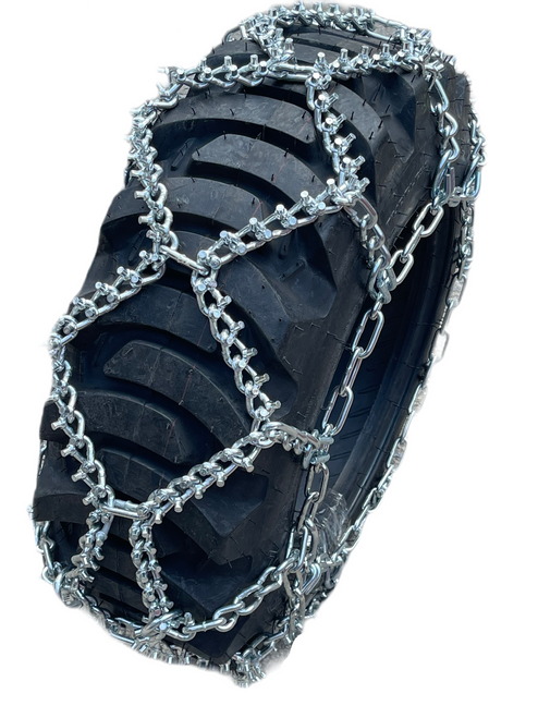 Compatible With Galaxy Marathoner R-4 25X8.50-14 Load 6 Ply Industrial Tire Stud Tire Chains, Priced Per Pair