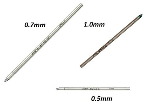 ZEBRA 4C Ballpoint pen refills - 4x 0.5mm + 4x 0.7mm +4x 1.0mm BLACK