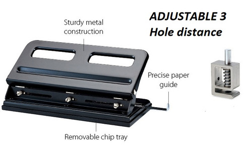 KW TRIO 9630 Adjustable 3 HOLES Paper Punch (up to 30 sheets A4)