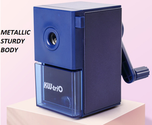KW TRIO Manual Mini Pencil Sharpener Metallic Alloy Body - NAVY BLUE