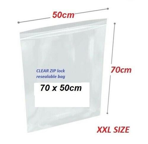 Clear Re-sealable plastic bag 70cm x 50cm XXL - 25x bags