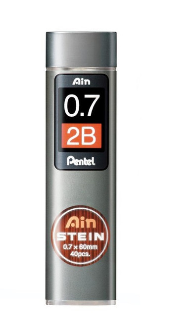Pentel Ain Stein Mechanical Pencil Lead, 0.7mm 2B 40 Leads (C277-2B)