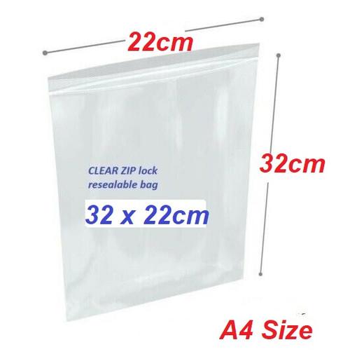 Clear Re-sealable plastic bag 32cm x 22cm A4 Size