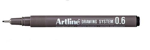Artline Drawing System fineliner 0.6mm EK236 - 1 Dozen BLACK