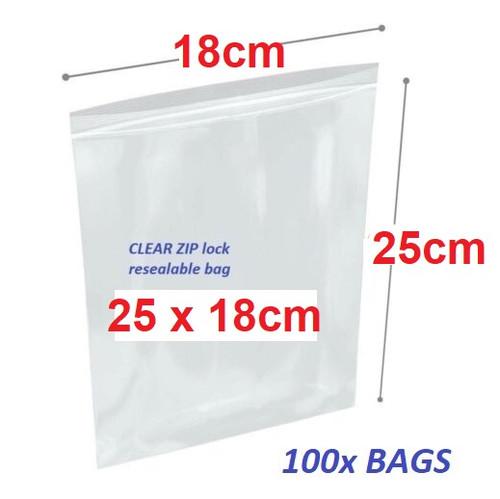 Clear Re-sealable plastic bag 25cm x 18cm  - 100x bags