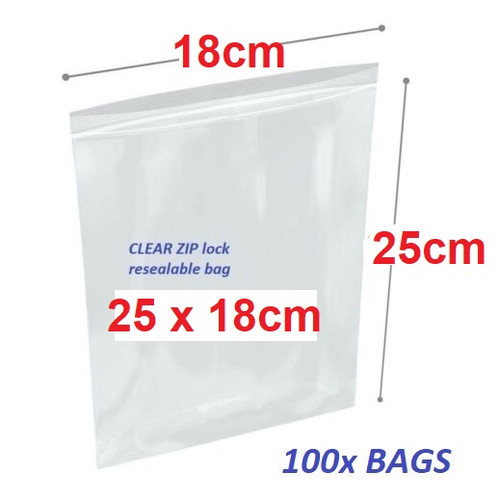 Clear Re-sealable plastic bag 20cm x 10cm  - 100x bags