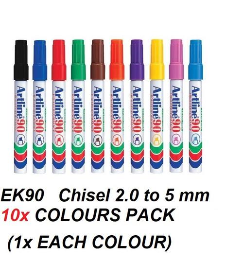 Artline EK90 CHISEL Tip 2mm to 5mm - 10x COLOURS PACK