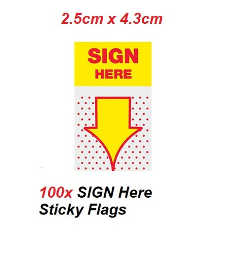 SIGN Here Sticky Flags 4.3cm x 2.5cm - 100x Yellow flags