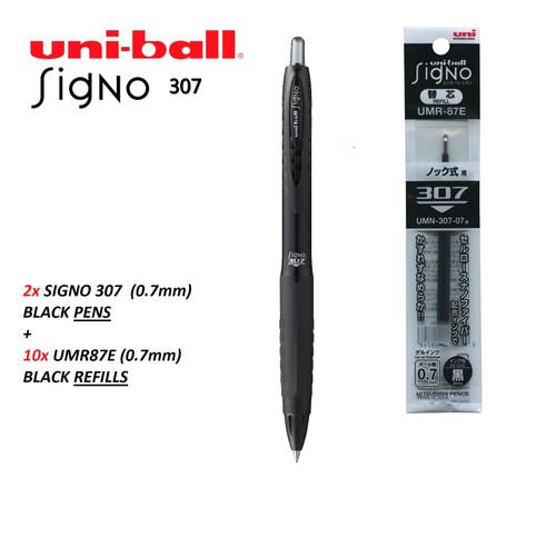 2x UNIBALL Signo 307 Gel pens 0.7mm UMN307 BLACK + 10x UMR87E REFILLS BLACK