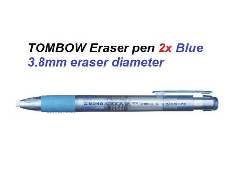 Tombow Mono Knock Pen Style Eraser Pen 3.8mm - 2x Blue