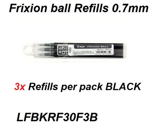Pilot Frixion Ball REFILLS 0.7mm LFPKRF30F3B - SET of 3 BLACK
