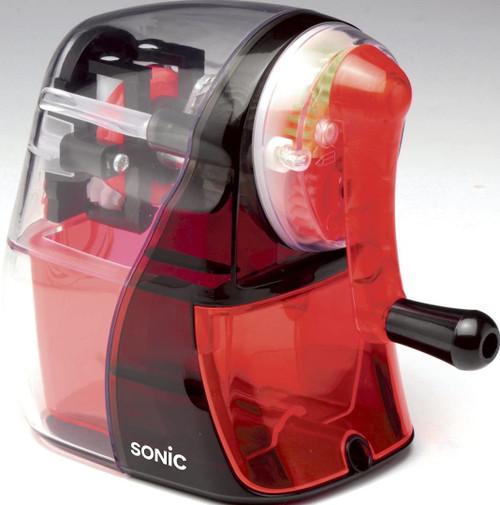 SONIC Half Skeleton Clear manual pencil sharpener (SK-804-CR) RED