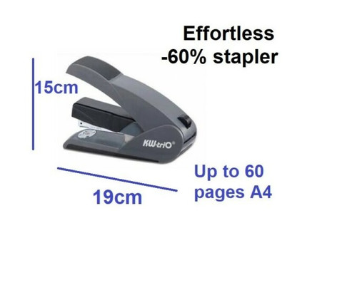 KW TRIO Lever Tech Effortless Stapler 5012 BLACK/Grey - staple up to 60 pages A4