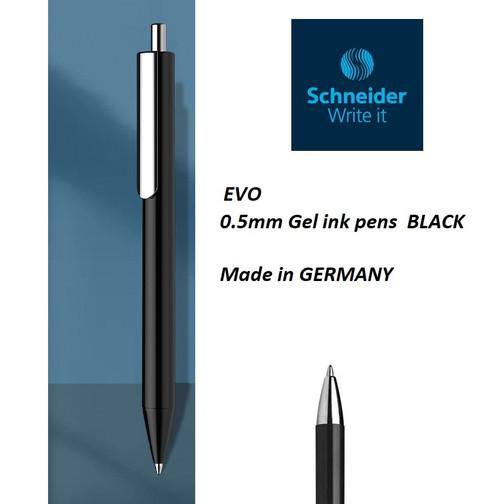 Schneider EVO Retractable gel ink pen 0.5mm Made in Germany - 10x BLACK