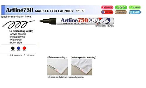 ARTLINE LAUNDRY MARKER EK750 (0.7mm) - 1 Dozen BLACK
