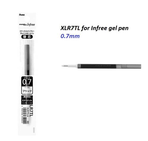 PENTEL Infree Energel XLR7TL Ink REFILL 0.7mm - 10x BLACK