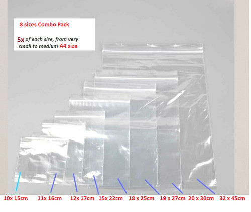 Clear Re-sealable bag 8 SIZES MIX - 5x bags of each size, total 40 bags