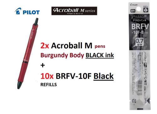 Pilot Acroball M SERIES 0.7mm BAB15F- 2x Burgundy Body BLACK +10x REFILLS BLACK