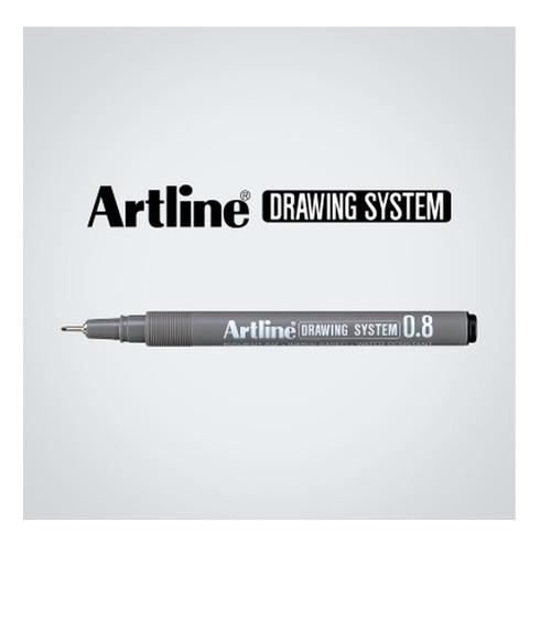 Artline Drawing System fineliner 0.8mm EK238 - 1 Dozen BLACK