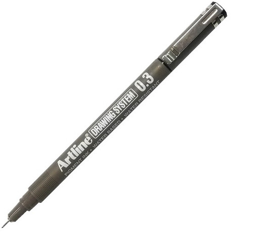 Artline Drawing System fineliner 0.3mm EK233 - 1 Dozen BLACK