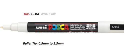 Uni POSCA PC-3M (Bullet Tip) Paint markers 0.9mm to 1.3mm - 10x WHITE Ink