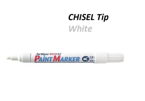 Artline Paint Markers 2.0 to 4mm EK409XF Chisel Tip - 1 DOZEN WHITE