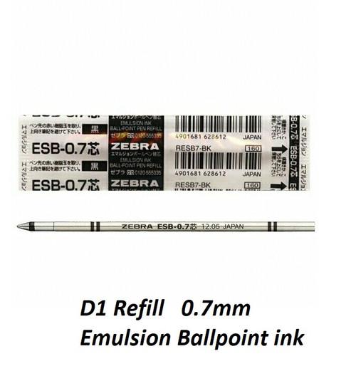 ZEBRA ESB-07 Emulsion Ballpoint ink D1 Type - 10x BLACK